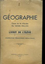 Geographie. Classe De Fin D'Etudes. Livret De L'Eleve - Couverture - Format classique