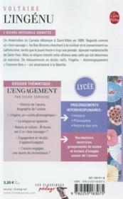 L'ingénu ; dossier thématique: l'engagement - 4ème de couverture - Format classique