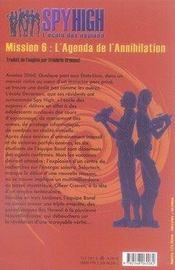 Spyhigh mission 6 ; l'agenda de l'annihilation - 4ème de couverture - Format classique
