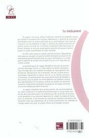 Le Medicament (Rapport Sur La Science Et La Technologie N. 3) - 4ème de couverture - Format classique