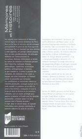Memoires Et Histoires ; Des Identites Personnelles Aux Politiques De Reconnaissance - 4ème de couverture - Format classique