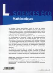 Mathématiques ; éléments de calcul différentiel pour l'économie ; licence sciences économiques - 4ème de couverture - Format classique