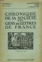 CHRONIQUE DE LA SOCIETE DES GENS DE LETTRES DE FRANCE N°1, 103e ANNEE ( 1er TRIMESTRE 1967) - Couverture - Format classique