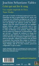 Celui qui sait lire le sang ; une enquête impériale de l'inca Tupac Hualpa - 4ème de couverture - Format classique