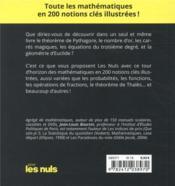 Les mathématiques pour les nuls - 4ème de couverture - Format classique