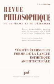 REVUE PHILOSOPHIQUE N.131/2 ; vérités éternelles ; forme de langue esthétique architecturale - Couverture - Format classique