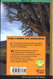 Dans l'ombre des rhinoceros - 4ème de couverture - Format classique