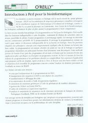 Introduction A Perl Pour La Bioinformatique - 4ème de couverture - Format classique