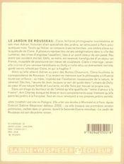 Le jardin de Rousseau - 4ème de couverture - Format classique