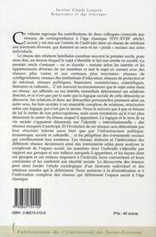 Réseaux de correspondance à l'âge classique, xvi-xviii siècle - 4ème de couverture - Format classique