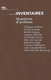 Questions D'Archives - Couverture - Format classique