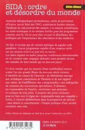 Sida ; Ordre Et Desordre Du Monde - 4ème de couverture - Format classique