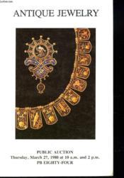 Antique Jewelry Public Auction. Sale 748. - Couverture - Format classique