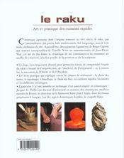 Le Raku ; Art Et Pratique Des Cuissons Rapides - 4ème de couverture - Format classique