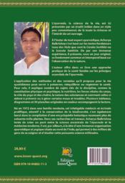 Une approche pratique de la science de l'ayurvéda ; guide complet pour une santé florissante - 4ème de couverture - Format classique