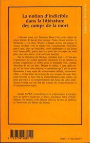 La Notion D'Indicible Dans La Litterature Des Camps De La Mort - 4ème de couverture - Format classique