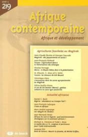 Afrique Contemporaine N.219 ; Agricultures Familiales Au Maghreb - Couverture - Format classique