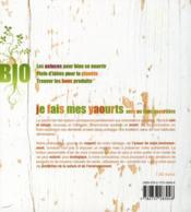 Je fais mes yaourts avec ou sans yaourtiere - 4ème de couverture - Format classique
