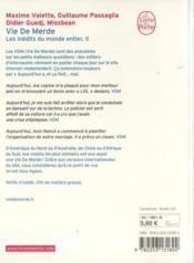 Vie de merde : les inédits du monde entier t.2 - 4ème de couverture - Format classique
