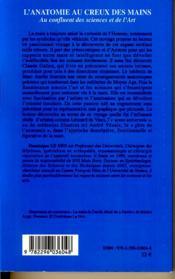 L'anatomie au creux des mains ; au confluent des sciences et de l'art - 4ème de couverture - Format classique