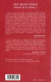 Quel Repertoire Theatral Traitant De La Science - 4ème de couverture - Format classique