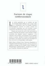 Facteurs de risque cardiovasculaire - 4ème de couverture - Format classique