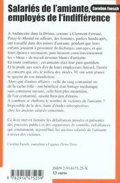 Salaries De L'Amiante ; Employes De L'Indifference - 4ème de couverture - Format classique