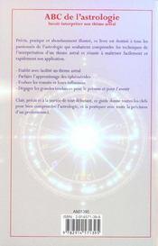 Abc de l'astrologie ; savoir interpreter son theme astral - 4ème de couverture - Format classique