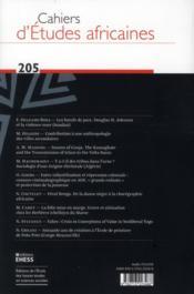 Cahiers d'études africaines N.205 - 4ème de couverture - Format classique