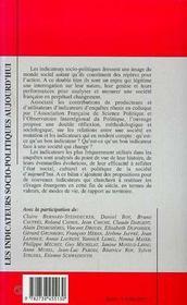 Les Indicateurs Socio-Politiques Aujourd'Hui - 4ème de couverture - Format classique