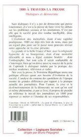1880 A Travers La Presse : Dialogue Et Democratie - 4ème de couverture - Format classique