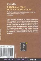 Poèmes à Lesbie et autres poèmes d'amour - 4ème de couverture - Format classique