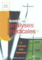 Guide des analyses medicales a l'usage des patients - Intérieur - Format classique