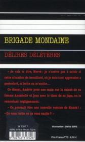 Brigade mondaine t.320 ; délires délétères - 4ème de couverture - Format classique