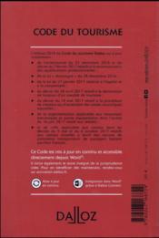 Code du tourisme annoté et commenté (édition 2018) - 4ème de couverture - Format classique