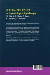 L'ultra-endurance de la physiologie à la pathologie ; pathologie locomotrice et médecine orthopédique - 4ème de couverture - Format classique