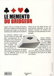 Le mémento du bridgeur - 4ème de couverture - Format classique