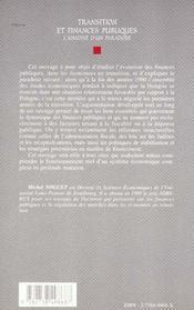 Transition et finances publiques ; l'analyse d'un paradoxe - 4ème de couverture - Format classique