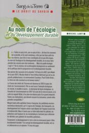 Au nom de l'écologie et du développement durable - 4ème de couverture - Format classique