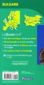 Le Guide Vert ; Bulgarie - 4ème de couverture - Format classique
