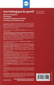 Suivi biologique du sportif ; mesures biologiques, pathologies, passeport biologique de l'athlète, génomique - 4ème de couverture - Format classique