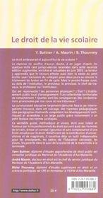 Le Droit De La Vie Scolaire ; Ecoles, Colleges, Lycees - 4ème de couverture - Format classique