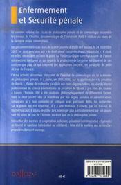 Enfermement et sécurité pénale ; essais de philosophie générale de criminologie t.6 - 4ème de couverture - Format classique