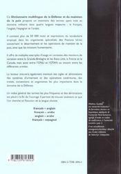 Dictionnaire Multilingue De La Defense Et Du Maintien De La Paix Francais Anglais Arabe Espagnol - 4ème de couverture - Format classique