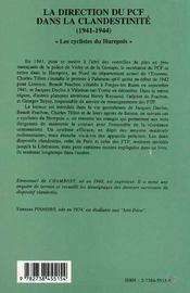 La Direction Du Pcf Dans La Clandestinite, 1941-1944 ; Les Cyclistes Du Hurepoix - 4ème de couverture - Format classique