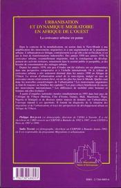 Urbanisation Et Dynamique Migratoire En Afrique De L'Ouest ; La Croissance Urbaine En Panne - 4ème de couverture - Format classique