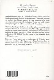 Hector de Sainte-Hermine, le salut de l'Empire - 4ème de couverture - Format classique