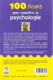 100 Fiches Pr Comprendre La Psychologie - 4ème de couverture - Format classique
