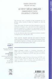 Le XVIIIe siècle anglais ; commentaire de textes : civilisation et littérature - 4ème de couverture - Format classique