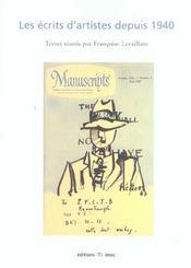 Les ecrits d'artistes depuis 1940 - Intérieur - Format classique